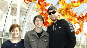 Paige, Caleb and Dad at the Space Needle and Chihuly